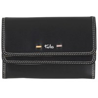 Tula Violet Leather Medium Flapover Wallet Black