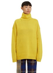 Acne Studios Saara Roll Neck Wool Knit Sweater Yellow