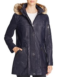 Calvin Klein Faux Fur Trim Waxed Anorak Navy