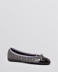 Paul Mayer Ballet Flats Best Quilted Brighton Black Pewter