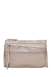 Perlina Andie Front Zip Leather Crossbody Gray