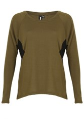 Izabel London Sheer Side Panel Jersey Top Khaki