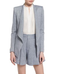 Alice Olivia Allison Draped Collar Chambray Blazer Blue