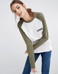 Ellesse Long Sleeve Raglan T Shirt With Woven Logo Badge White Dusty Olive