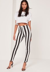 Missguided Monochrome High Waisted Striped Skinny Jeans Multi