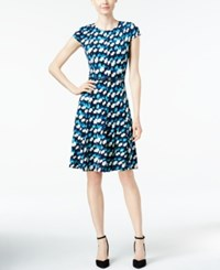 Jessica Howard Printed Belted Fit And Flare Dress Blue