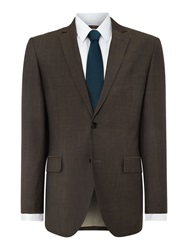 Corsivo Verulo Pin Dot Notch Collar Tailored Fit Suit Jac Brown