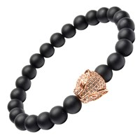 Tag Twenty Two Matte Black Onyx And Rose Gold Cheetah Bracelet