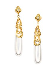 Azaara Romantic 9Mm White Teardrop Pearl Earrings Gold