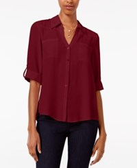 Amy Byer Bcx Juniors' Tab Sleeve Shirt Bordeaux