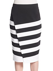 Portia Striped Faux Wrap Skirt Black