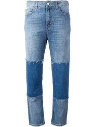 Love Moschino Patchwork Frayed Jeans Blue