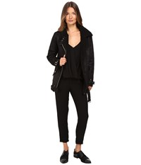 The Kooples Perfecto In Faux Treated Sheepskin Black Women's Coat