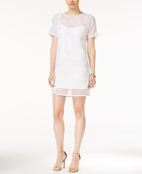Armani Exchange Mesh Detail Shift Dress Solid White