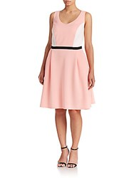 Abs Plus Size Colorblock Fit And Flare Dress Pink