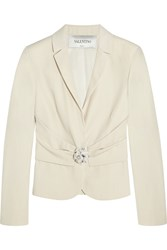 Valentino Wool And Silk Blend Crepe Blazer White