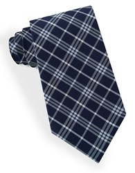 Lord And Taylor Plaid Striped Tie Blue