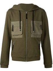 Unconditional Patch Pocket Zipped Hoodie Green
