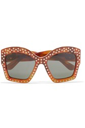 Gucci Square Frame Studded Acetate Sunglasses Brown