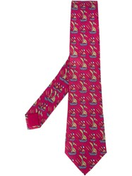 Herma S Vintage Ship Print Tie Pink And Purple