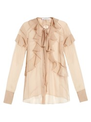 Givenchy Silk Chiffon Ruffled Neck Tie Blouse Beige