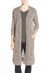 Women's Gibson Long V Neck Open Front Cardigan Taupe