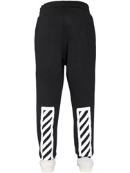 Off White Brushed Stripes Cotton Jogging Pants