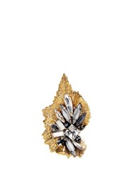 Erickson Beamon 'Milky Way' 24K Gold Plated Brass Swarovski Crystal Leaf Ring Metallic Multi Colour