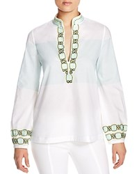 Tory Burch Sylvia Embroidered Color Block Tunic Collins Stripe