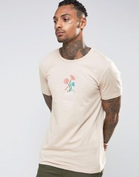 Hype T Shirt With Embroidered Floral Logo Beige