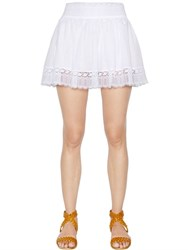 Charo Ruiz Cotton Voile And Lace Mini Skirt