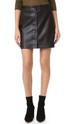 Madewell Button Front Leather Skirt Classic Black