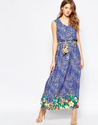 Traffic People Demi Maxi Dress In Animal Floral Print Blue