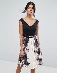 Little Mistress Rose Print Fit And Flare Dress Print Black