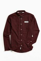 Lazy Oaf Out Of Office Plaid Flannel Button Down Shirt Red