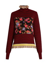 Msgm Striped Floral Ruffled Hem Sweater Red Multi
