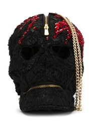 Manish Arora Sequins Embroidered Skull Clutch Black
