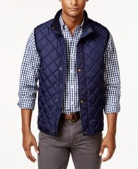 Club Room Men's Zip And Snap Quilted Vest Only At Macy's Navy Blue
