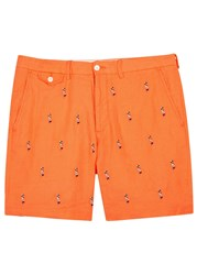 Polo Ralph Lauren Orange Embroidered Linen Shorts Coral