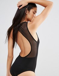 Missguided Cut Out Mesh Back Body Black