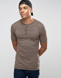 Asos Muscle Fit Knitted T Shirt With Henley Neck Navy And Camel Twist Brown