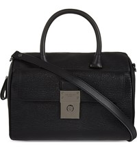Ted Baker Luggage Lock Leather Duffel Bag Black