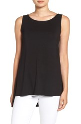 Eileen Fisher Women's Stretch Knit Sleeveless Shell Black