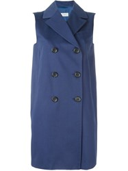Alberto Biani Sleeveless Double Breasted Coat Blue