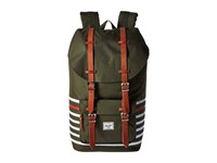 Herschel Little America Forest Night Offset Stripe Veggie Tan Leather Backpack Bags Olive