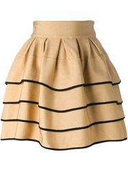 Fausto Puglisi Striped Short Full Skirt Nude And Neutrals