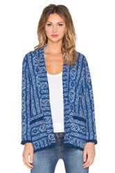 Velvet By Graham And Spencer Anya Boho Textured Front Pocket Long Sleeve Cardigan Navy