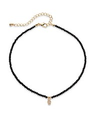Cara Semi Precious Stone And Crystal Studded Necklace Black Gold