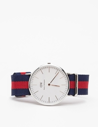 Daniel Wellington Classic Oxford In Silver Navy Red