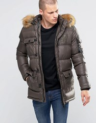 Sik Silk Siksilk Padded Parka Jacket With Faux Fur Hood Khaki Green
